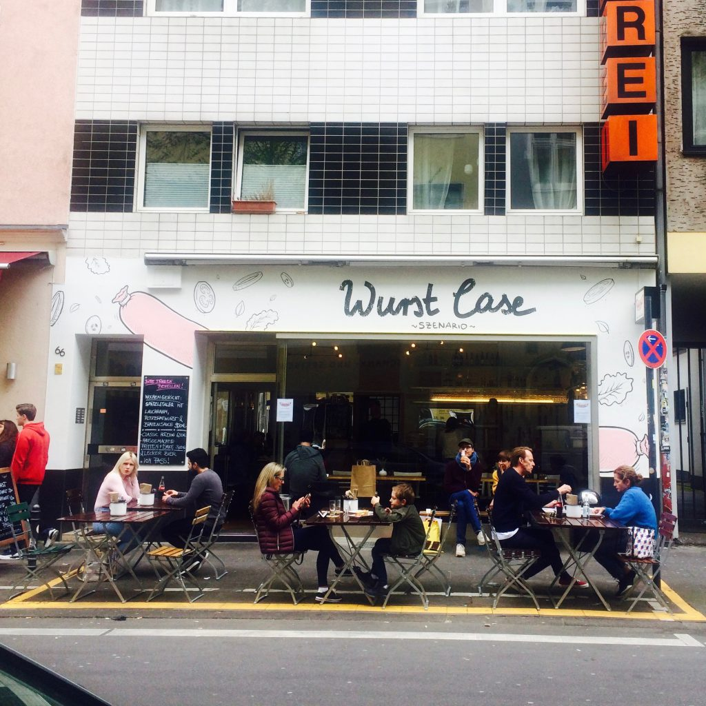 Outside view of a hotdog shop, Wurst Case Szenario