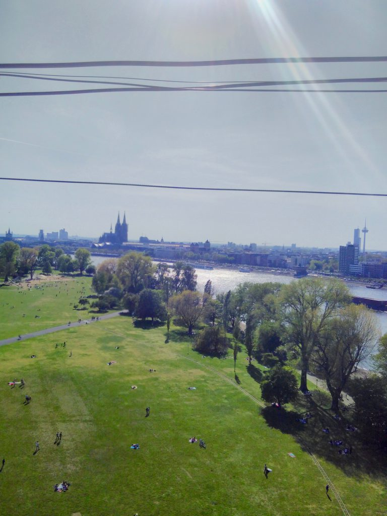Aerial view of the Rheinpark, Rhine and Cologne Skyline