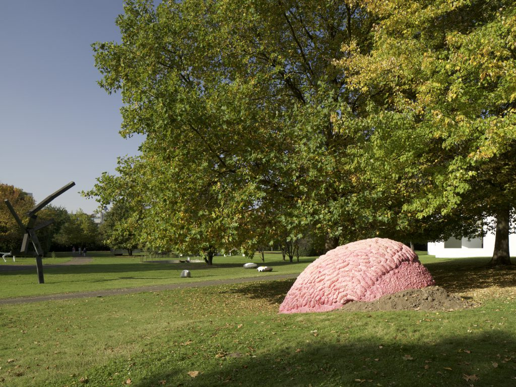 View of Cologne Sculpture Park with artworks dotted across a park