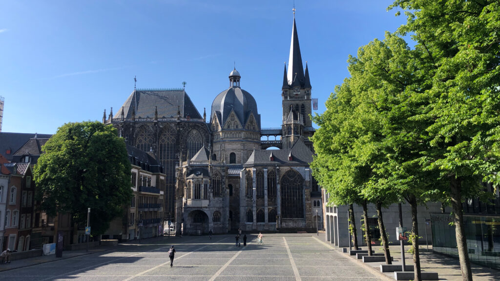 Aachen Cathedral viewed from across an empty square