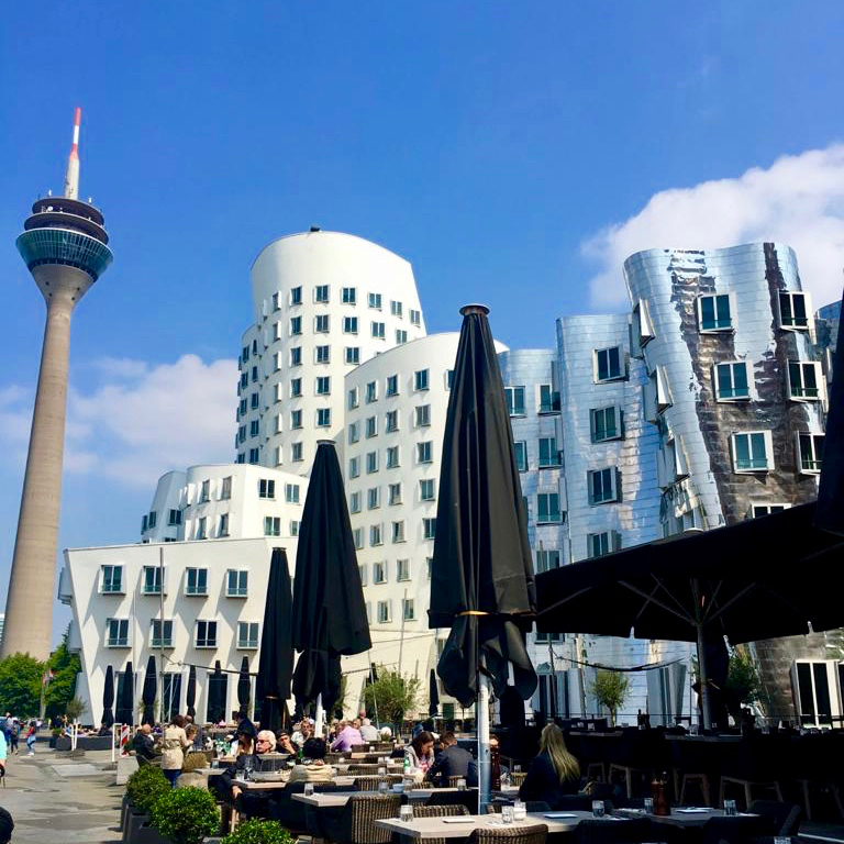 A nice place for a day trip from Cologne - towers on the Handelshafen in Düsseldorf