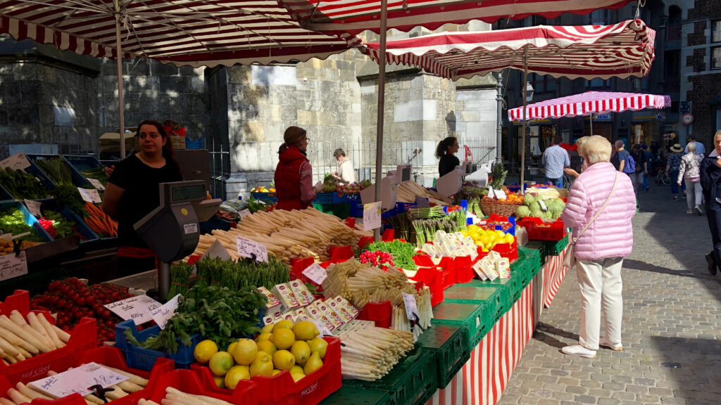Aachen market place with fresh fruit for sale